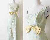 Vintage 1960's Party Dress / Green & Gold Brocade Cocktail Prom Dress / Full Length Sleeveless Dress