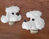 Vintage Poodle Wall Plaques - Chalkware Poodles - Set of Two White Poodles - Miller Studio 1978