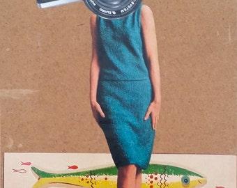 Say Fish!, Say Watermelon! - Original Collage on Panel