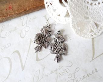 MABEL vintage sterling silver owl drop earrings B24   repurposed   vintage   sterling silver
