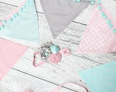 Morning Star-- aqua mint pink and silver sparkle ruffle and rose headband and banner set