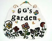 RESERVED for Mandy - Balance, HandMade Personalized Custom Great GrandMa's Garden Plaque - Rustic Stamped Text Flower Butterfly Wall Hanging