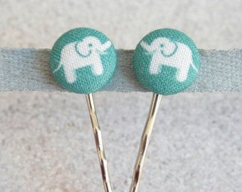 Elephant Parade, Fabric Covered Button Bobby Pin Pair