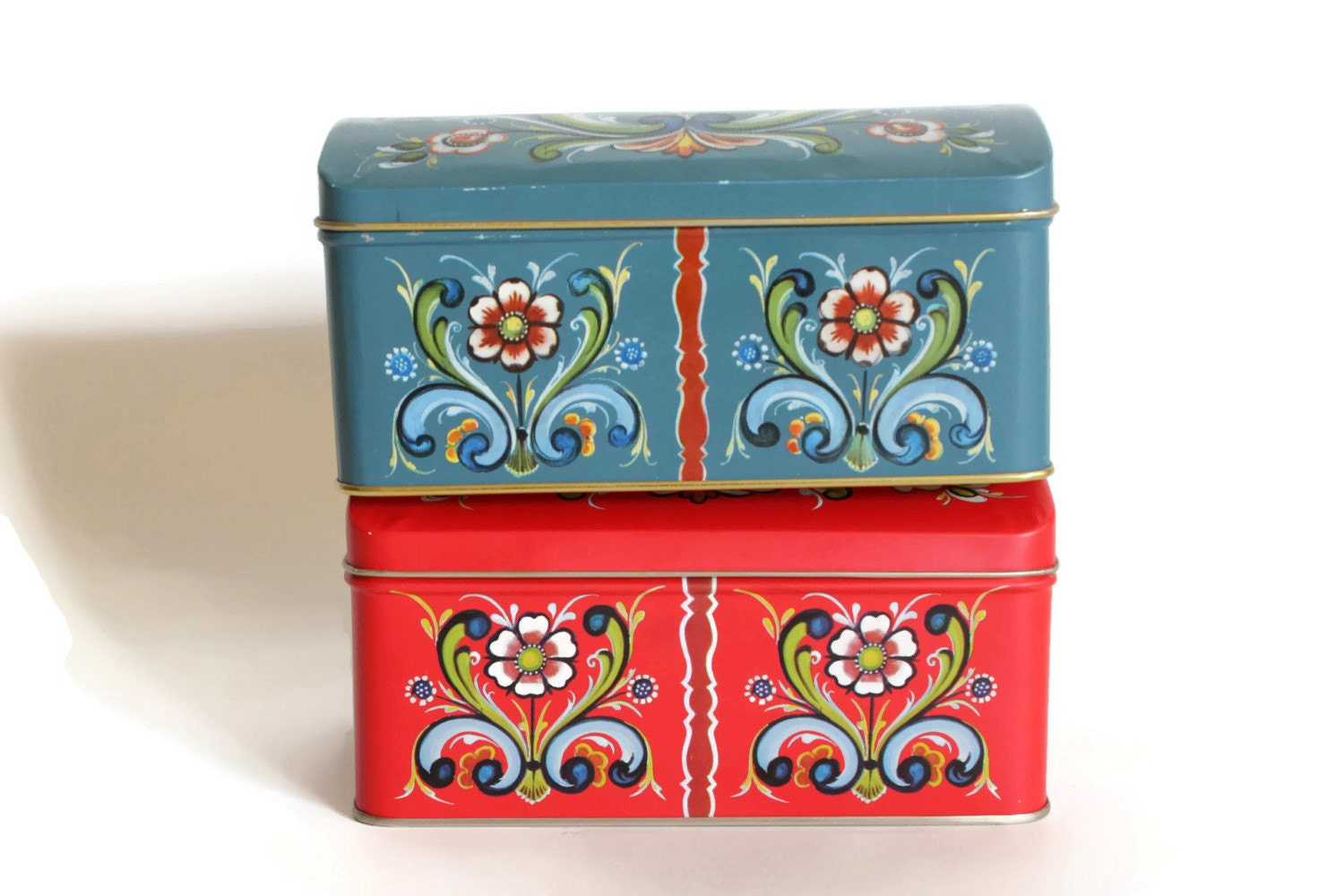 Rosemaled Norwegian Tin Boxes Made in Norway Hinged Lids