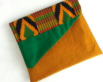 Upcycled Fabric Clutch- Green and gold shangtung and African print fabric