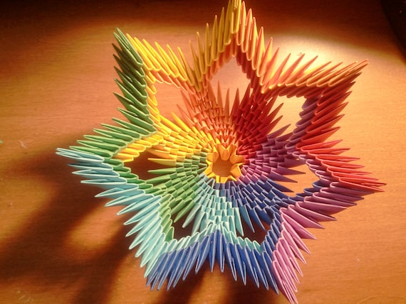 tutorial how to make 3d origami rainbow bowl. Black Bedroom Furniture Sets. Home Design Ideas