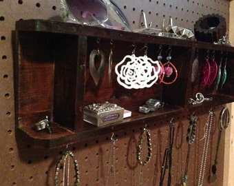 Upcycled Jewelry Organizing Display (Wood Four Section Drawer Tray)