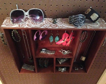Upcycled Jewelry Holder Organizing Display Cabinet (White Carved Flower Cubbies)
