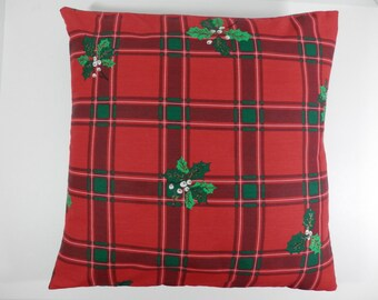 """16"""" Square Pillow Cover Tartan Plaid Holiday Season Holly Leaf Berry Design Red Green Fabric Decorative Accent Toss Decorator Throw Cushion"""