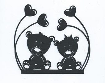 Baby bears with hearts silhouettes