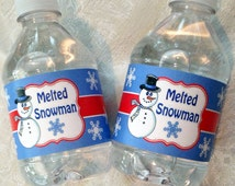 Melted Snowman Water Bottle Labels ~ Instant Download ~ Printable