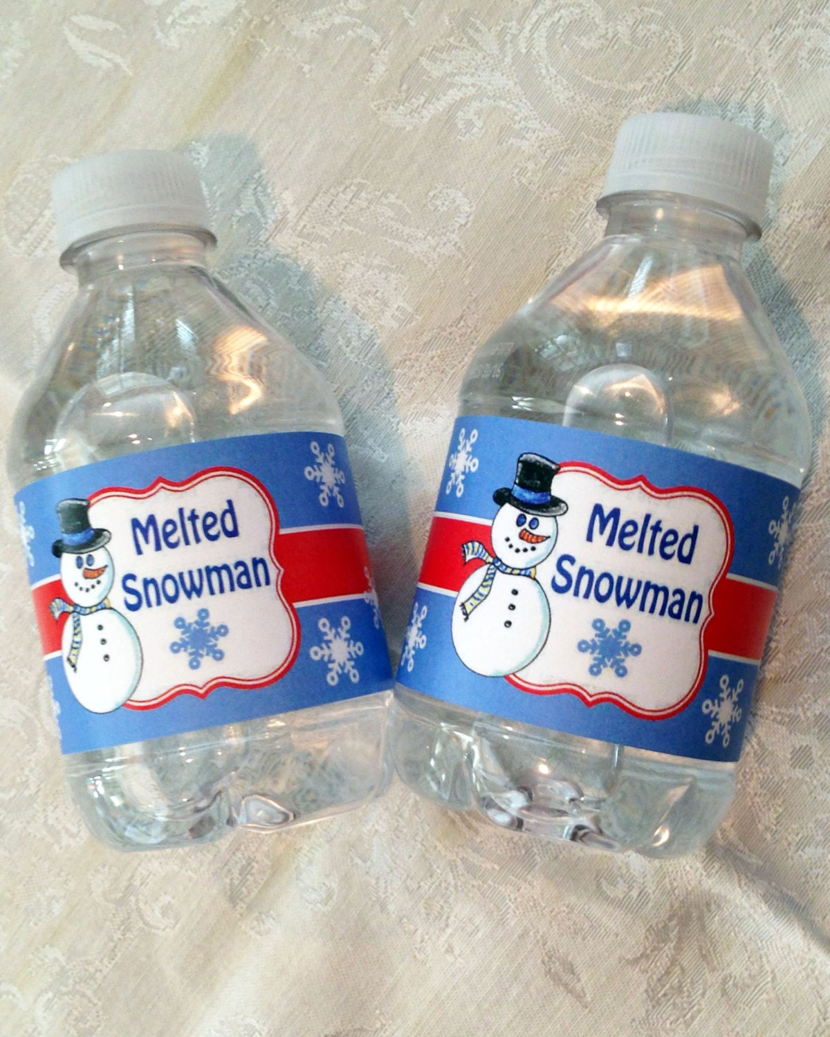 Melted Snowman Water Bottle Labels Instant Download