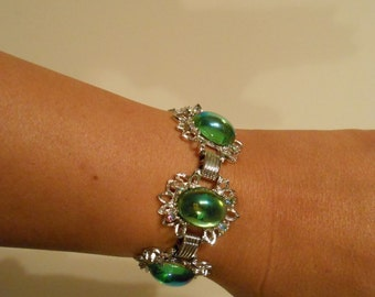 Under the Comet Shoot By - Vintage 1950s Iridescent Green Glass Cabochon Silver Bracelet