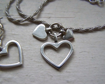 Sterling Silver Dangling Hearts Necklace and Hoop Earrings Set