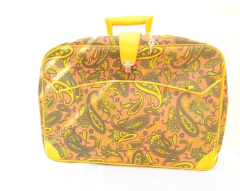 vintage paisley tote.suitcase.luggage.fall colors.orange.yellow.60's.hippie.computer case.KEY.tessiemay