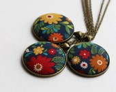 Colorful Necklace, Fabric Jewelry, Floral Red, Yellow, Green, Navy Blue Pendant, Eclectic Unique Boho Hippie, Flowers, Spring Garden
