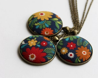 Colorful Boho Necklace, Floral Fabric Pendant, Red, Yellow, Green, Navy Blue Hippie Jewelry