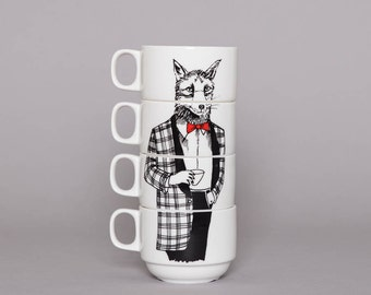 Set of 4 Coffee cups - Mr Fox