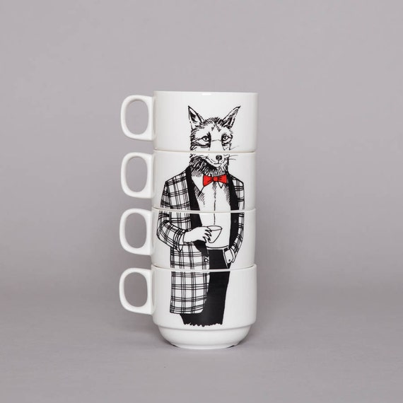 Set of 4 Coffee cups - Mr Fox