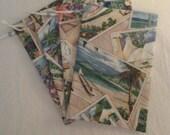 cotton decorator fabric 4 x 6 drawstring bags 4 bags  DESTASHING