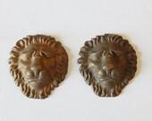 2 lion faces vintage metal decorations