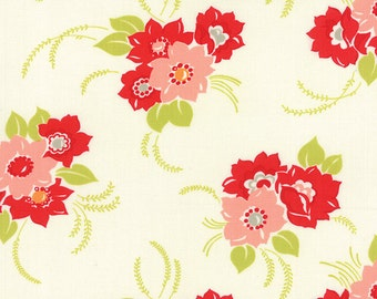 REMNANT! Blossom (Floral) Print in Creamy White from the Miss Kate Collection, by Moda, 7/8 yard