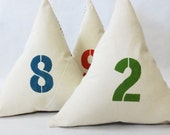 Hand Printed Equilateral Triangle Shaped Throw Pillow with Vibrant Numerical Print or Initial Letter at Front