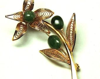 Vintage Flower Brooch Pin Large Jade Cabochons Gold Filigree Vintage Jewelry