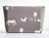large wet bag. cosmetic bag. organic cotton meadow friends.  by Cloud Love Baby
