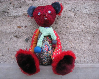 Handmade Artist Teddy bear sewn red funny bear