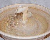 "Cat Fountain -  Ceramic Pet Fountain -  Indoor Fountain, REDUCED - 12.75 Inch Diameter -  "" Yellow Zen"""