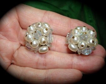 1960s Crystal and Faux Pearl Clip On Earrings.