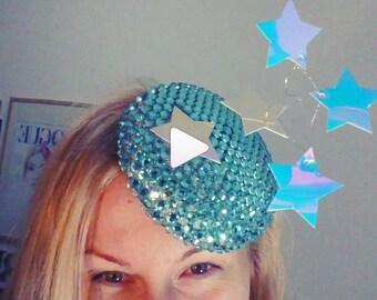 Aquamarine Galaxy Facinator Bag Set - Kentucky Derby Show Stopper Hat - Shimmering Women's Accessories - Headpiece - Swarovski Fascinator