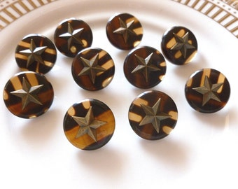Vintage Buttons ~ Brown Tortoise Shell Buttons with Metal Star ~ Made in Italy ~ Military ~ Nautical ~ 10 in lot - Metal Loop Shank ~ 18mm ~