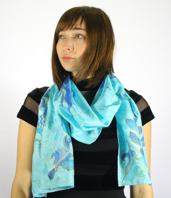 Aquamarine Scarf - Hand painted Blue Scarf Headcovering . Shades of Blue Scarf . Hand Painted Silk scarf.