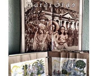 1931 Mardi Gras Scrapbook Vintage Ephemera Flapper Poster New Orleans