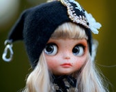 Slouchy Glamour Sparkle Gold Embroidery Beads Angora Hat Blythe Hat OOAK Blythe Hat  Fantasy Hat Blythe Blythe Outfit Hat Blythe
