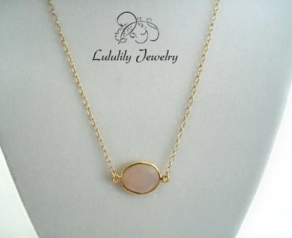 Chalcedony Necklace, Pink Necklace, Minimalist Style, Gemstone Necklace