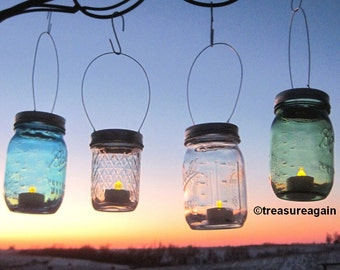DIY Hanging Mason Jar Luminary Lantern LIDS