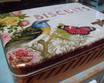 Bluebird Tin with Frozen Charlottes lot of assemblage items