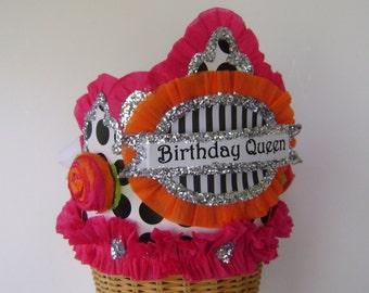 Birthday Party Crown, Birthday Party Hat, Black polka dot birthday hat, customized birthday hat