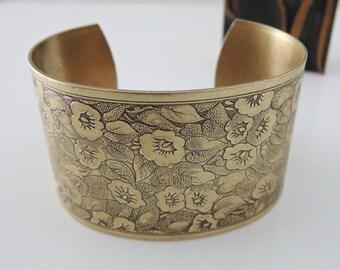 Vintage Bracelet - Cuff Bracelet - Flower Bracelet - Brass Jewelry - Morning Glory Flowers - handmade jewelry