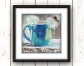 Modern Wall Decor - White, Blue - Wall Decor - Linen Textured Paper Print Reproduction from Original Oil Painting - Blue Cup of Flower