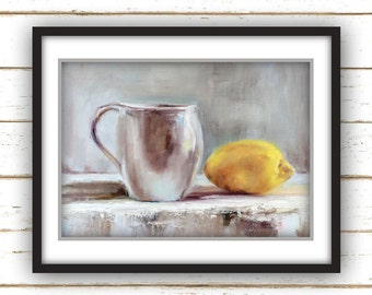 Lemon - Large Home Decor Wall Art Print - White Cup with Yellow Lemon Still life Kitchen Oil Painting Print
