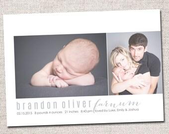 Baby Girl Birth Announcement, Baby Boy Birth Announcement: PRINTABLE (2 photo baby announcement)