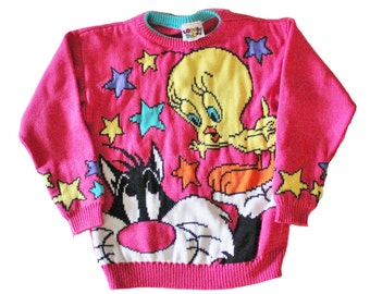 Vintage 90s Pink Sylvester and Tweety Sweater - Girls Medium 10 12 - Childrens, Looney Tunes