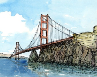 San Francisco Golden Gate Bridge art print from an original watercolor painting
