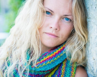 Crochet pattern : energizing colours scarf