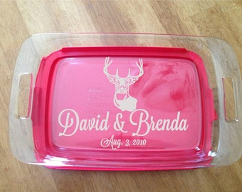 """Personalized Laser Engraved Pyrex Baking Dish with Lid 13""""x9""""  Deer Antler Wedding Anniversary"""