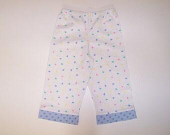Flannel pants pajama bottoms lounge pants cozy pants pastel hearts polka dots white blue pink yellow green size 7/8